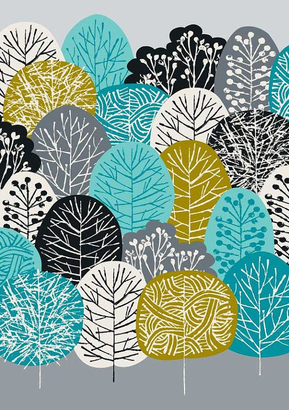 Blue Forest limited edition giclee print por EloiseRenouf en Etsy, $25.00