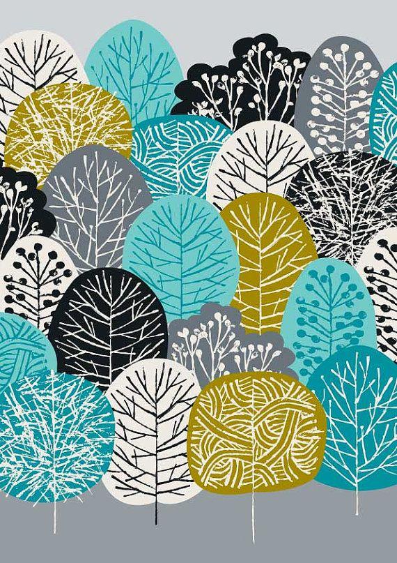 Bleu forêt édition limitée giclée par EloiseRenouf sur Etsy, $25.00