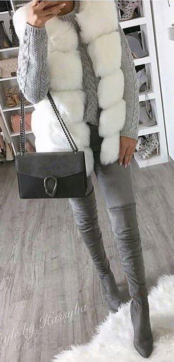 #winter #outfits /  White Fur Vest // Grey Knit // Velvet Over The Knee Boots // Dark Grey Shoulder Bag