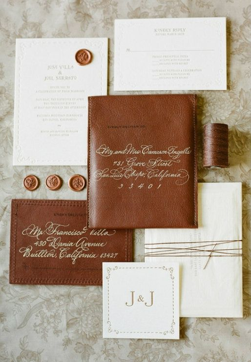 Potential invitation idea! It reminds me of the rustic tweed  and burlap look, only a litter more elegant!