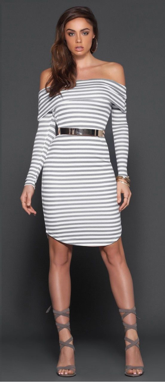 Off the Shoulder Striped Pattern Bodycon Dress