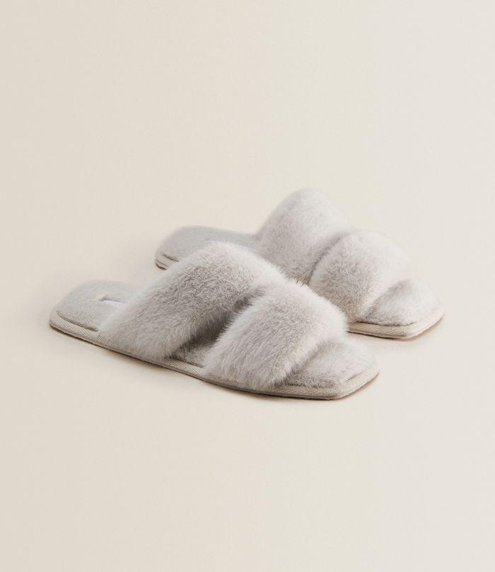 Zara Home Faux Fur Two-Strap Slippers