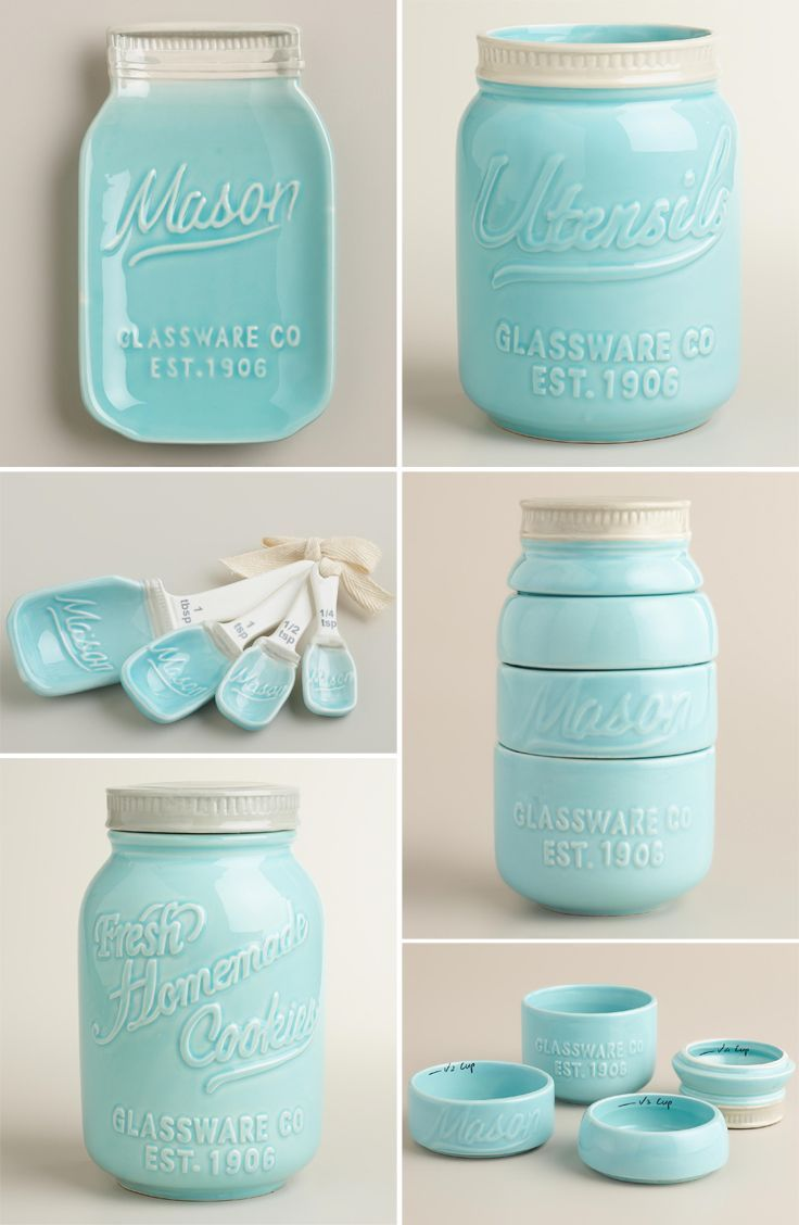 These Light Aqua Blue Mason Jar Ceramic Kitchenware would be great for your dreamy vintage inspired kitchen as the set includes all necessary stuffs that you need. This vintage set is a great addition to your kitchen and also it would be one kind of great gift for those who love to collect different type kitchen gadgets. Price $85.00