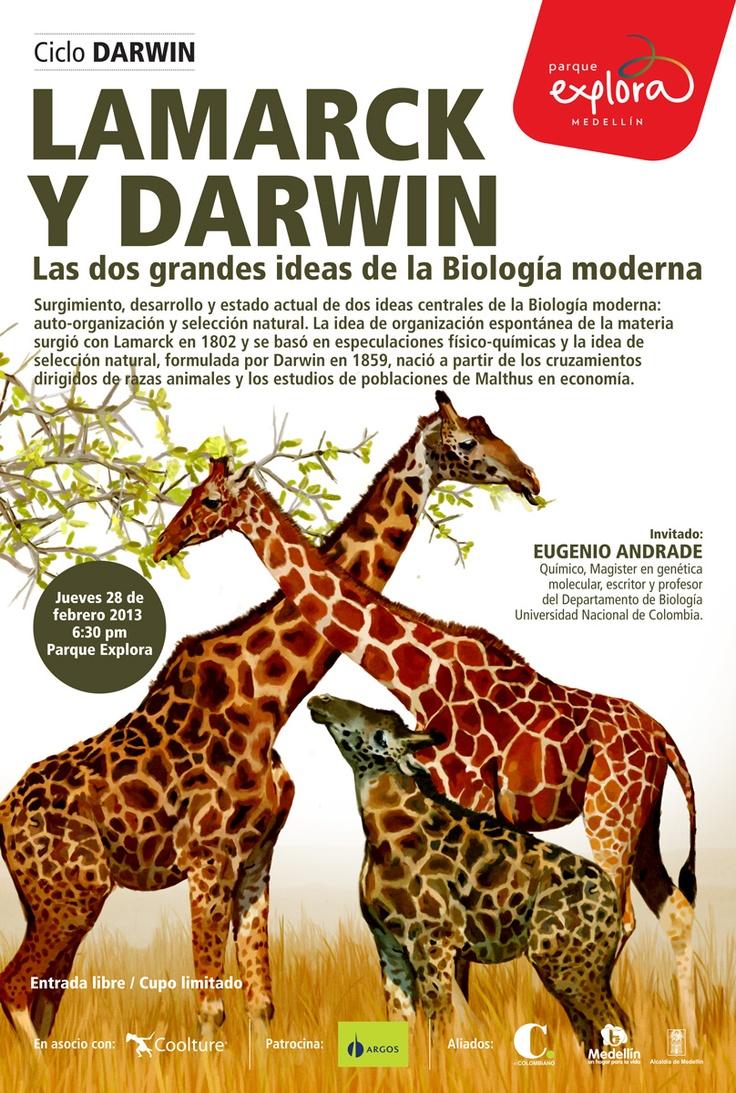 【  LAMARCK Y DARWIN  】  Ciclo Darwin / Parque Explora. Ilustración: María Luisa Isaza.