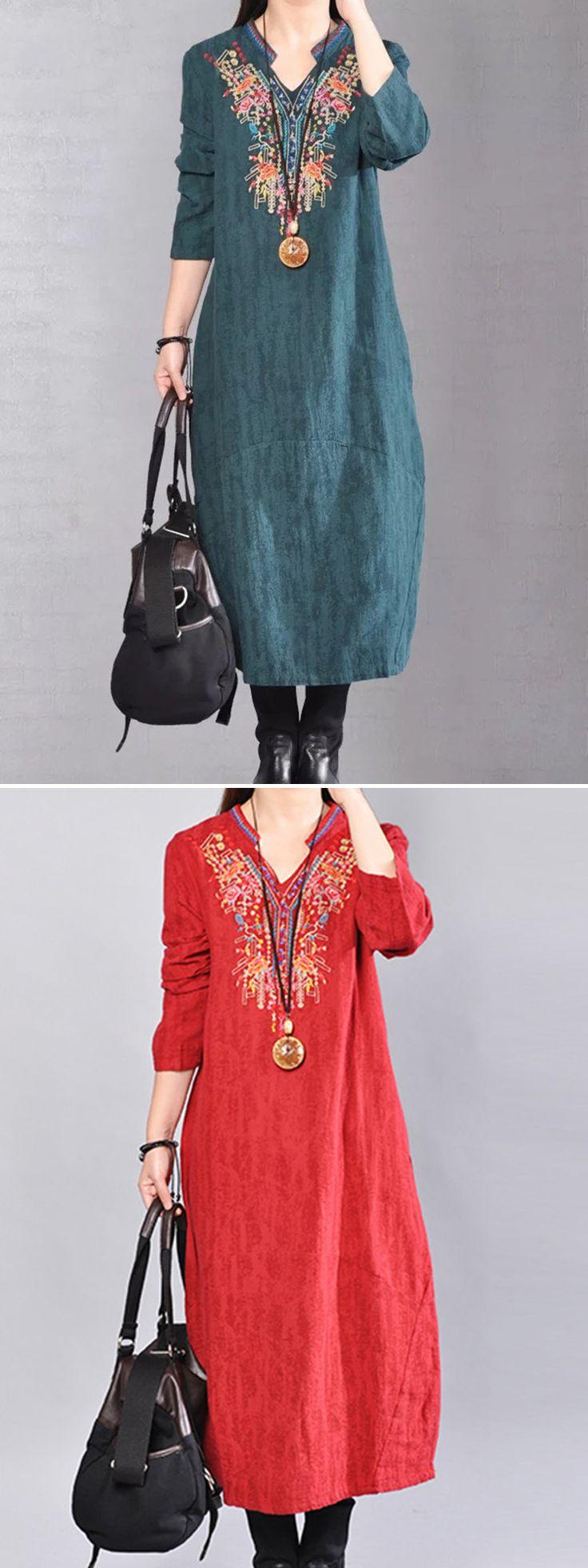 US$ 34.63 O-NEWE Vintage Women Embroidery Long Sleeve V-Neck Dress
