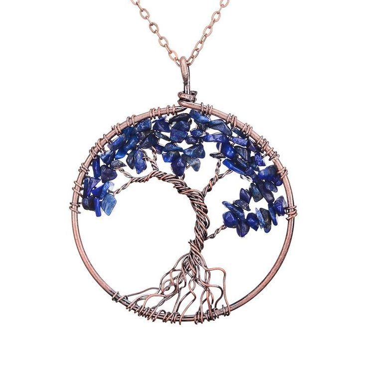 """7 Chakra Tree Of Life Pendant Necklace 