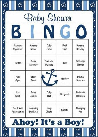 Nautical Baby Bingo Cards - Printable Download - Prefilled - Anchor Baby Shower Game for Boy - Navy & Blue