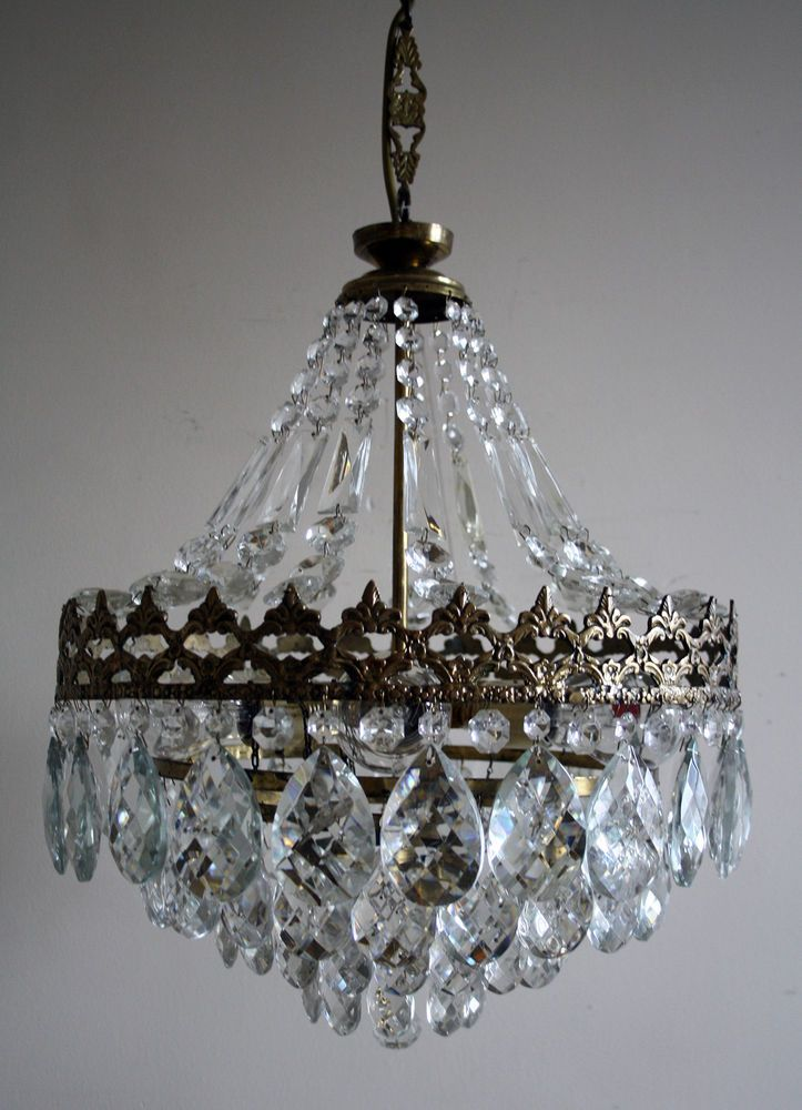 Antique Vintage French Basket Style Brass Crystals Chandelier Lamp 1950 S