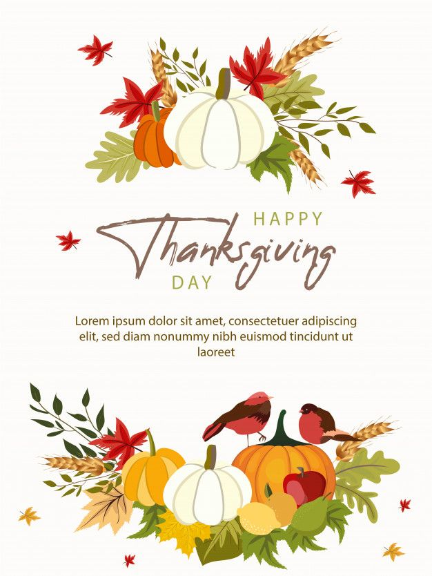 Happy Thanksgiving Day Greeting Card Template With Vegetables And Colorful Leaves Greeting Card Template Happy Thanksgiving Day Colorful Leaves