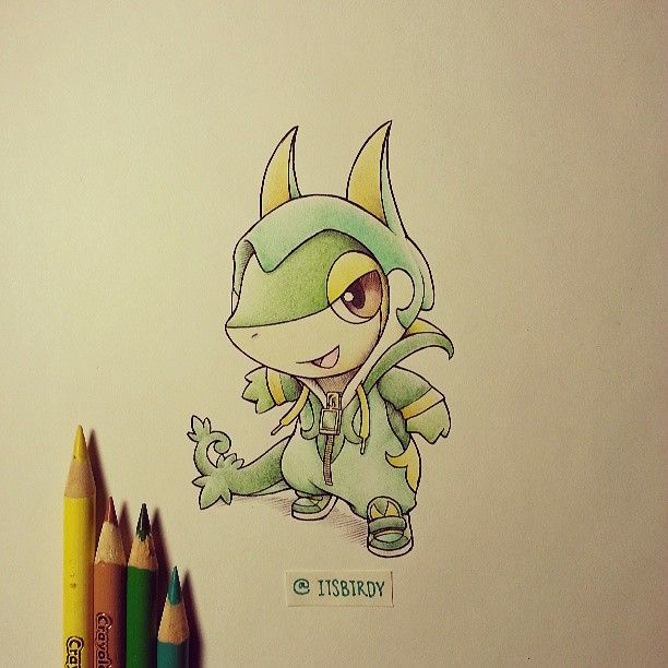 Snivy in a Serperior onesie by itsbirdy