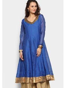 abof Ethnic Blue Anarkali Chanderi Kurta