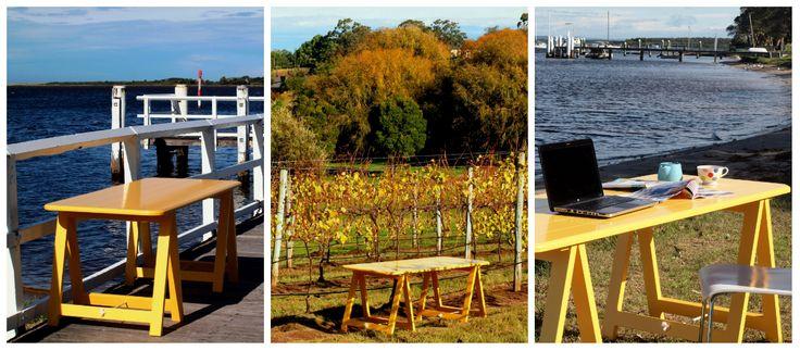 Hello Yellow trestle table - www.plankandtrestle.com.au