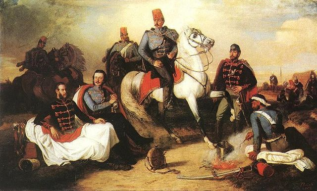 Lotz, Karoly (1833-1904) - 1857 Hussar Officers at Camp (Hungarian National Gallery, Budapest)