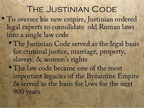 """The Codex Justinianus (Latin for """"The Code of Justinian"""") is one part of the Corpus Juris Civilis, the codification of Roman law ordered early in the 6th century AD by Justinian I, who was an Eastern Roman (Byzantine) emperor in Constantinople."""