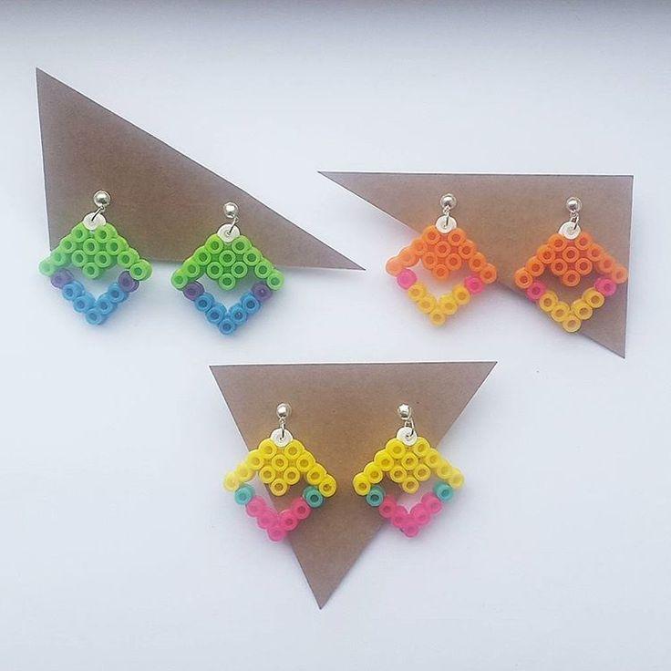 Earrings hama beads by handmadelovealex