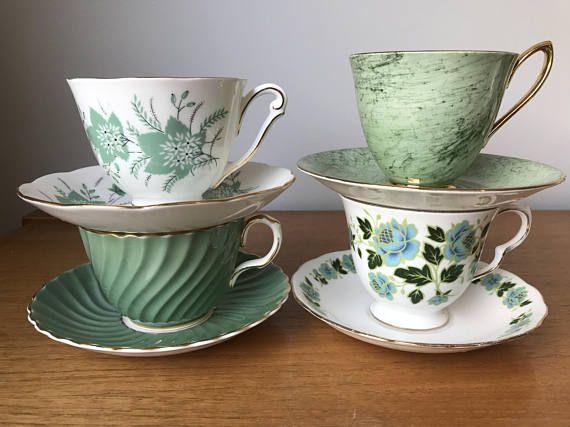 Green Tea set Vintage Mismatched China Teacups and Saucers