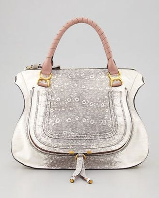 Chloe Marcie Large Lizard Print Leather Shoulder Bag