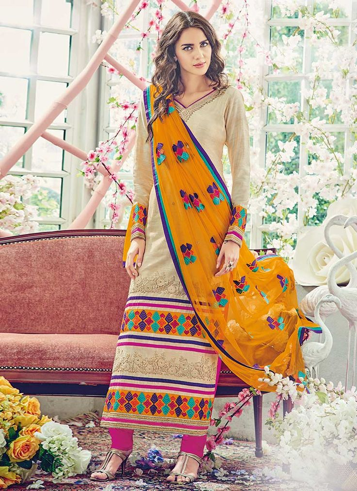 Buy Beige Art Silk Pakistani Suit online from the wide collection of straight-suit.  This Beige colored straight-suit in Art Silk fabric goes well with any occasion. Shop online Designer straight-suit from cbazaar at the lowest price.