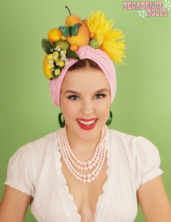 Tickled pink  Carmen Miranda fruit hat by MyTuttiFruttiHat on Etsy, $120.00