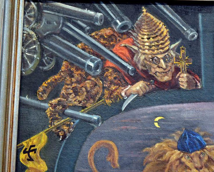 Папа Римский (Пий XI) - с ослиными ушами и туловщем леопарда.