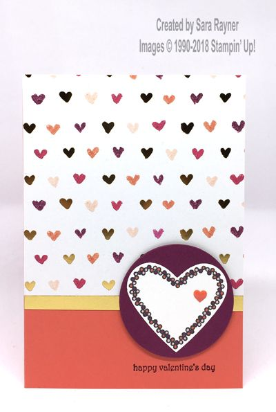 Valentine's Day card using Painted with Love Specialty paper and Heart Happiness stamp set, all from Stampin' Up!