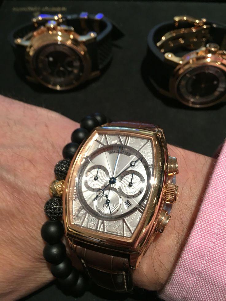 Nialaya 14 K onyx bracelet with a Breguet watch
