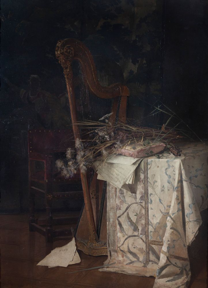 Alica Ronner, Harpe avec fleurs 1888, huile sur toile, 222 x 160 cm. Stedelijke Musea Lier, inv. 150. - EXPO Les peintresses en Belgique (1880-1914) - MUSÉE FÉLICIEN ROPS