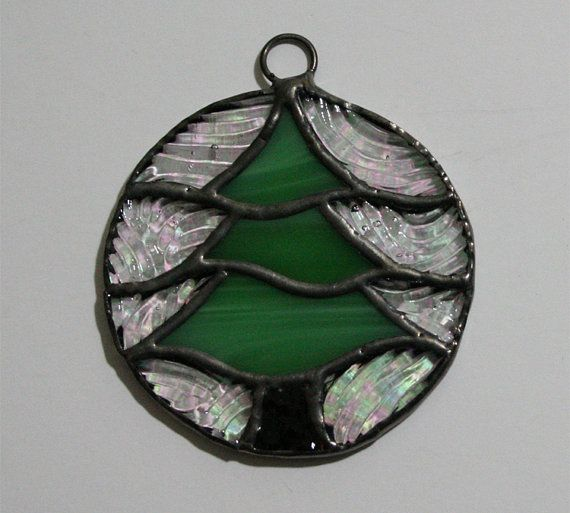 Stained glass christmas tree ornament stained glass for Christmas tree photo ornaments