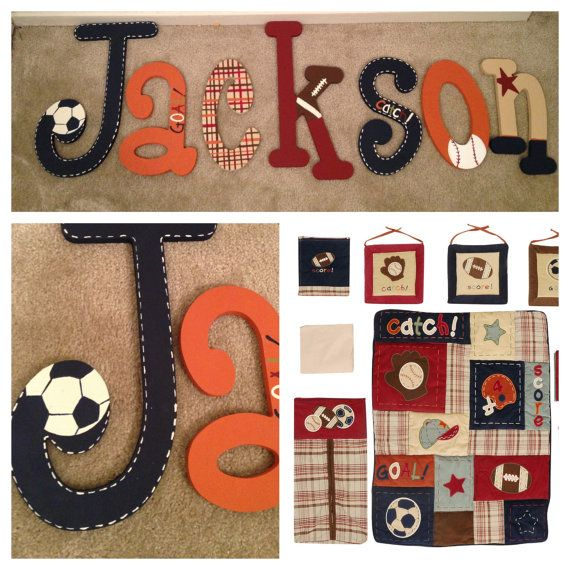 Amy: Cute for Eli's room!?! Hand painted sports theme wall letters / Nojo by HelloBabyShoppe, $9.50