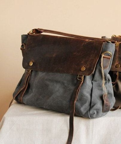 Grey  Leather-canvas tote /Leather bag/Canvas bag /Shopping bag/ Stitch bag/Shoulder bag/iPad bag. $85.00, via Etsy.
