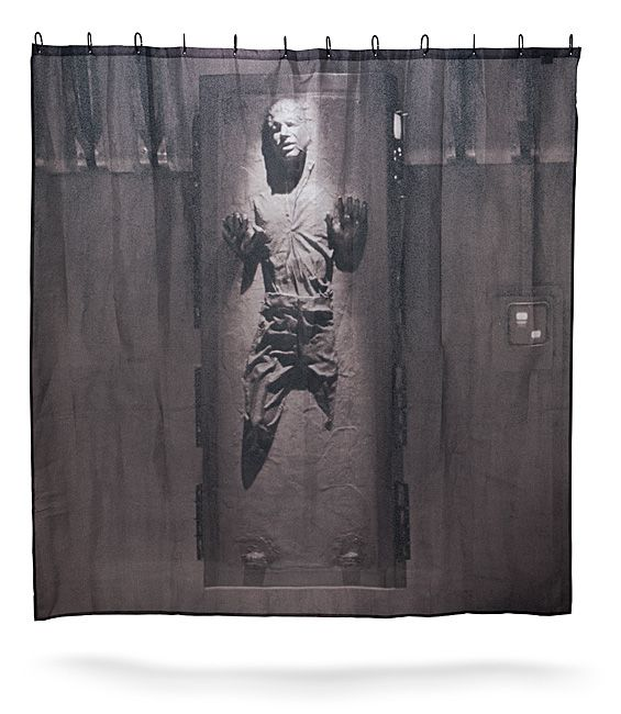 How about a nice cold carbonite shower? Sound good? Then you might want to get this Han Solo in Carbonite Shower Curtain.  Now you can enjoy Han Solo in Carbonite while in the shower. Han will always be there watching you while you ba