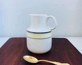 """Vintage Arabia Finland ceramic creamer named """"Veranda"""" designed by Stig Lindberg /  Inkeri Leivo, 1980s, Made in Finland"""