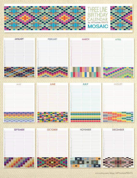 Geburtstag Kalender ewiger Kalender druckbare von ARTiculatePRINTS