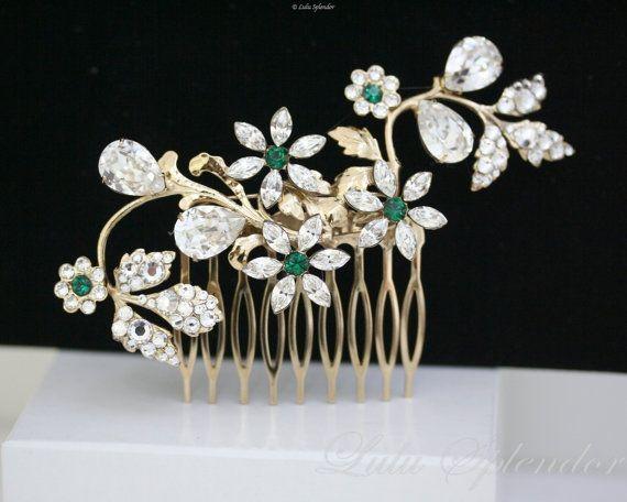 Gold Bridal Hair Comb Emerald Green Rhinestone Side Comb Flower Wedding Hair Piece Wedding hair accessory  AUBURY.