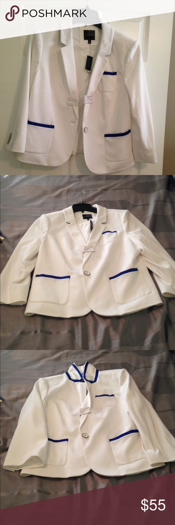White blazer with royal blue trim. Never worn White blazer with royal blue trim. The Limited Jackets & Coats Blazers