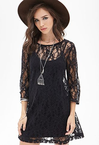 Floral Lace Shift Dress | Forever21 - 2000105276
