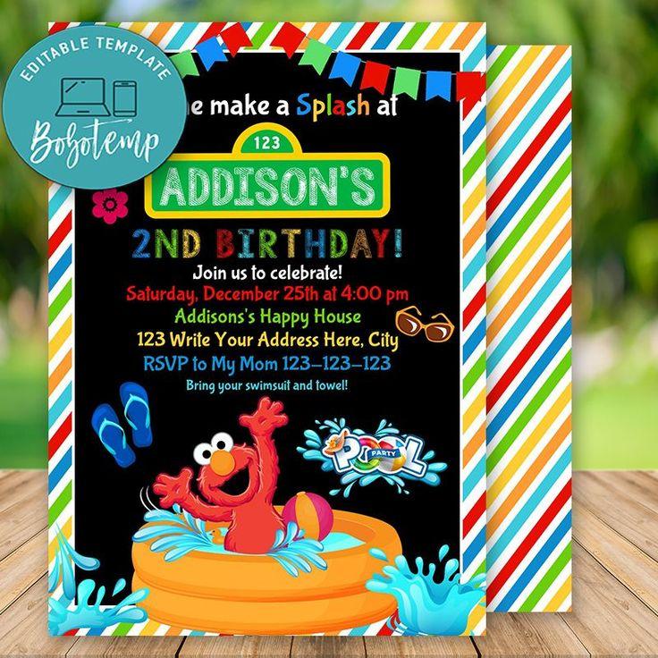 Editable sesame street elmo pool party invitation instant