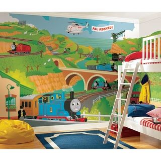 @Overstock - All Aboard with this gigantic Thomas the Tank Engine and his friends XL wall mural. This fun wall mural is perfect for nurseries and bedrooms, and parents will love how easy it is to apply and remove.http://www.overstock.com/Baby/Thomas-the-Train-Chair-Rail-Prepasted-Wall-Art-Mural-6-x-10.5/7653712/product.html?CID=214117 $154.00