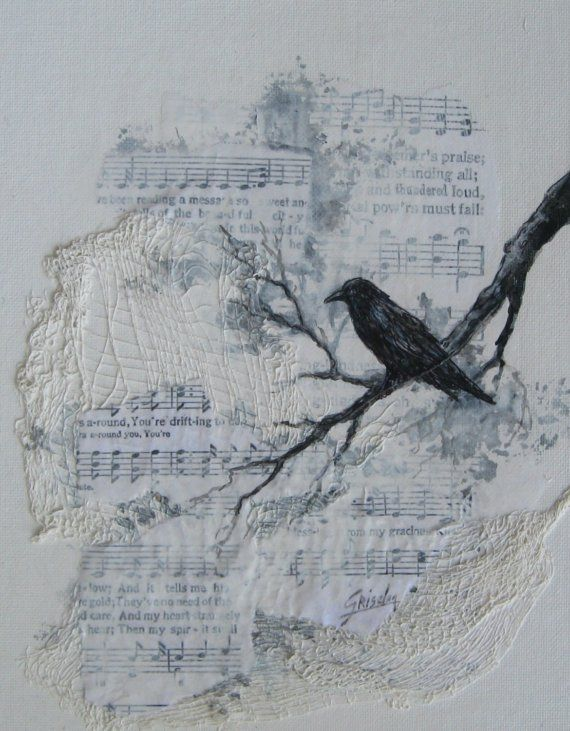 clip art of black and white bird on tree limb; on white background; textured black and white music sheets; layers of off white lace texture dd