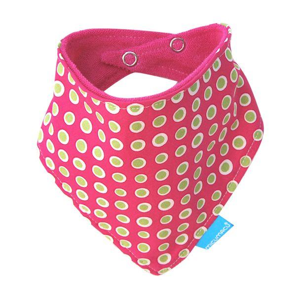 Babero bandana rosa topos verdes