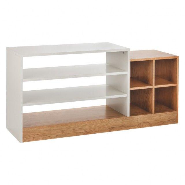 MILES Oak and linen white low shelving unit