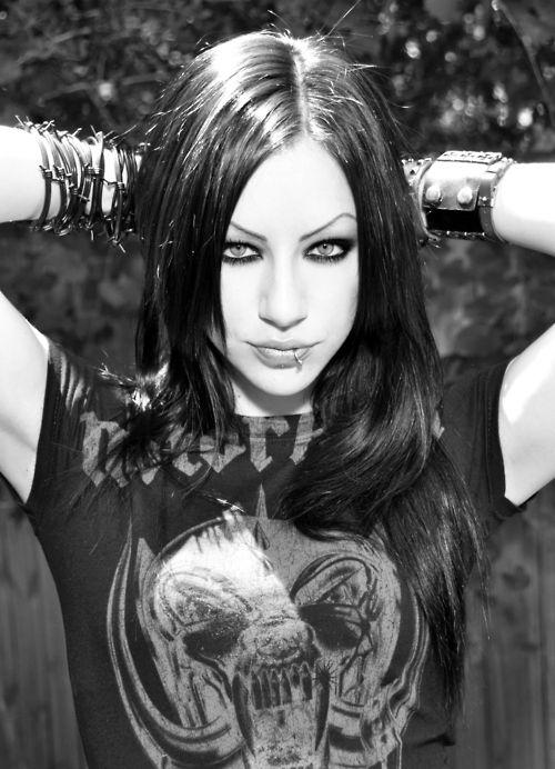 Gothic Girl Long Black Hair Pierced Lip