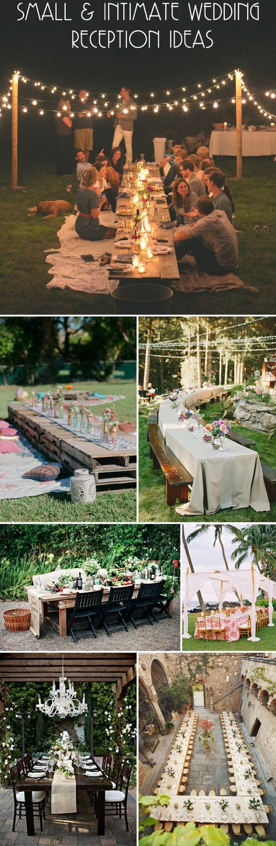 small and intimate wedding long table reception ideas