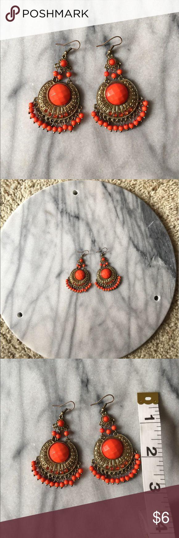 🎀 ORANGE CHANDELIER BOHO EARRINGS 🎀 Very stylish & beautiful bebe Jewelry Earrings