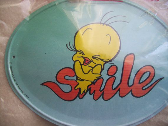 Vintage Tweety Bird Smile Tin Sign. 1990s Kids Bedroom Decor. GVS, Blossom team