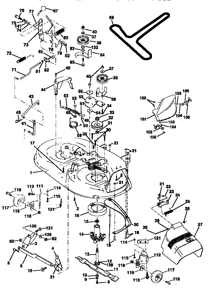 mower deck diagram  u0026 parts list for model 917270810 craftsman