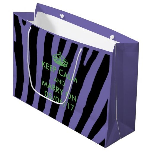 Bachelorette Party Zebra purple and lime green Large Gift Bag