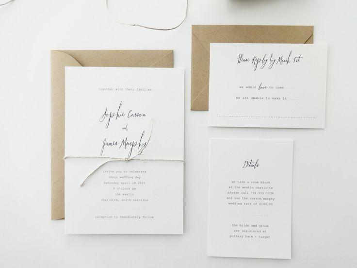 Deposit  Sophie Wedding Invitation / Simple by mariechangdesigns, $100.00