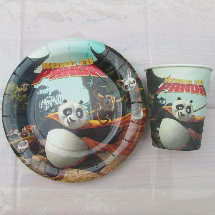 Кунг-фу панда тема бумажный стаканчик + 7 дюймовый бумажная тарелка посуда на день рождения, вечеринка чашки * 30 шт. + пластина * 30 шт.