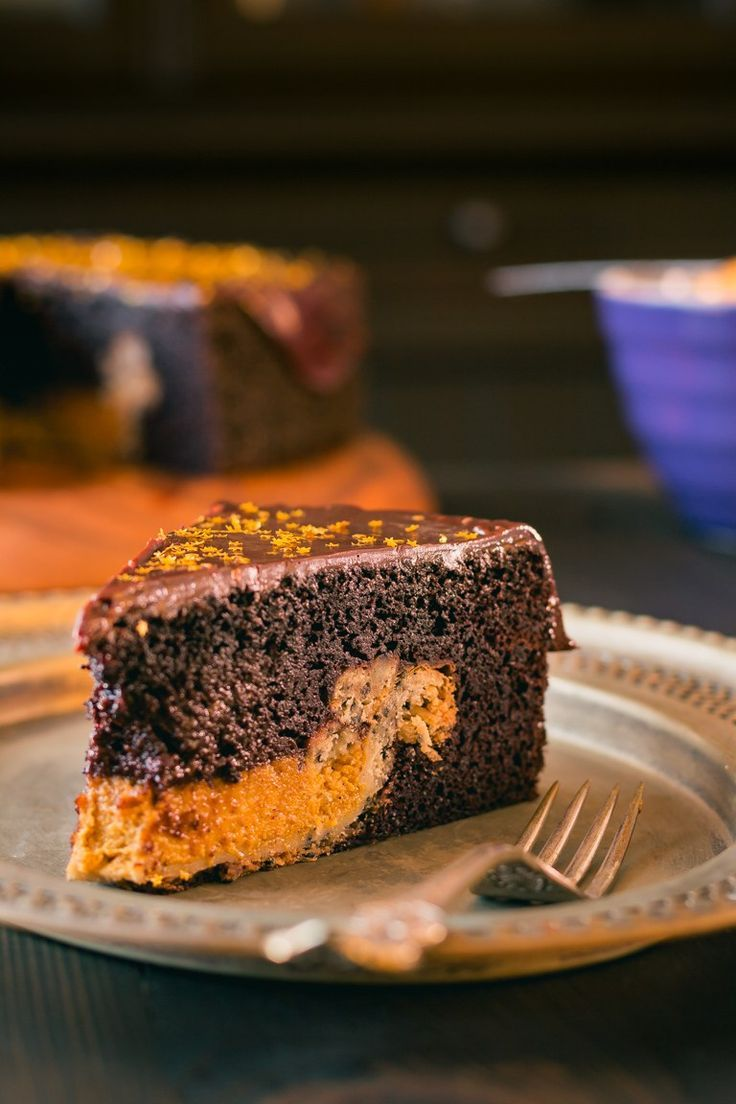 Cake or Pie?  Why choose when you can have both with this Chocolate Cake with a Pumpkin Pie Center.